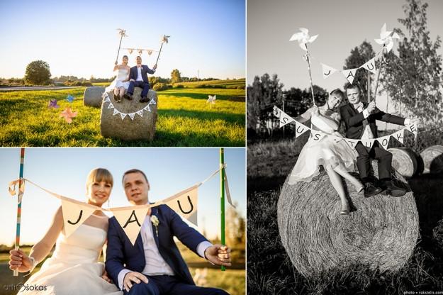 Vestuvinė fotosesija laukuose