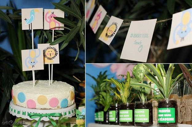 Gimtadienio tortas ir dekoracijos - džiunglės