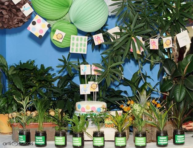 Gimtadienio saldaus stalo dekoras - Džiunglės