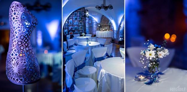 Mėlynų vestuvių dekoras - šventės vieta