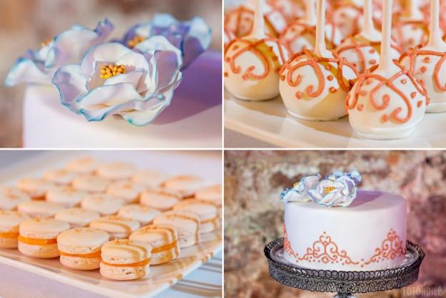 Mėlynų karališkų vestuvių dekoras - saldusis stalas