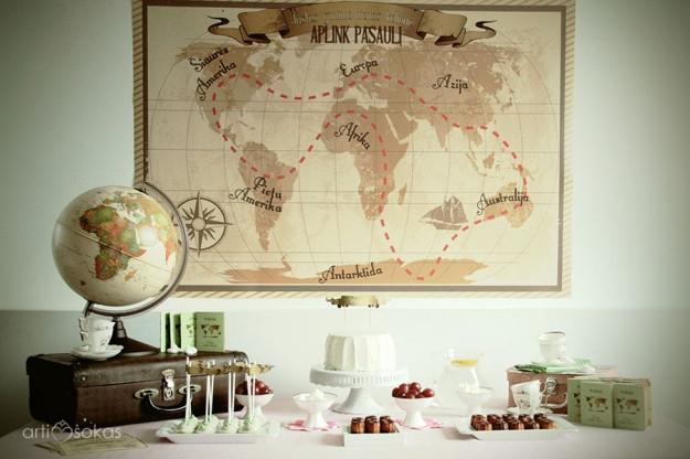 Saldaus stalo dekoras - gimtadienis Aplink Pasaulį