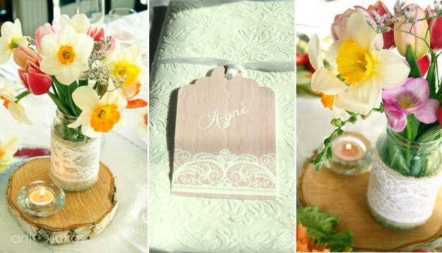 Šventės dekoras: floristika, vardų kortelės, puošimas