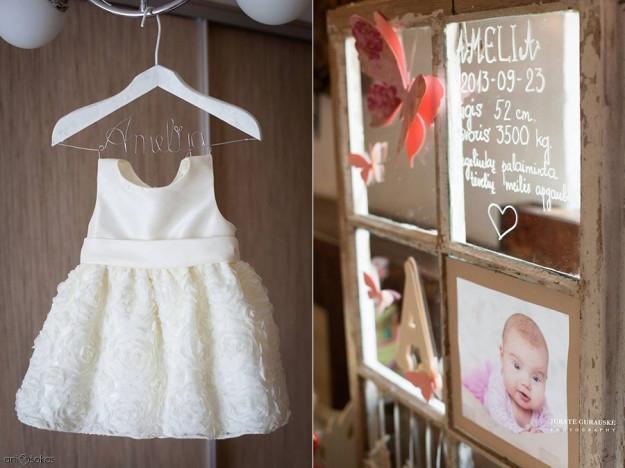 Krikštynų suknelė ir dekoras