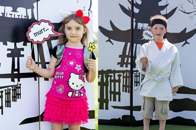 Dvigubas gimtadienis mergaitei ir berniukui - nindzės ir Hello Kitty teminis gimtadienis su foto rekvizitais