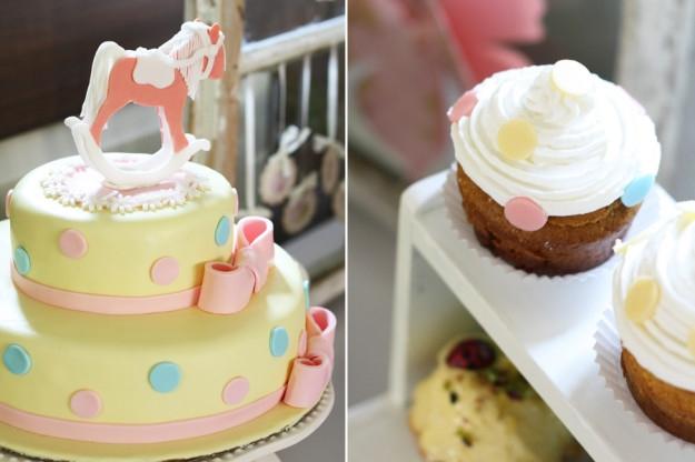 Saldaus stalo desertai ir vaišės mergaitės krikštynose