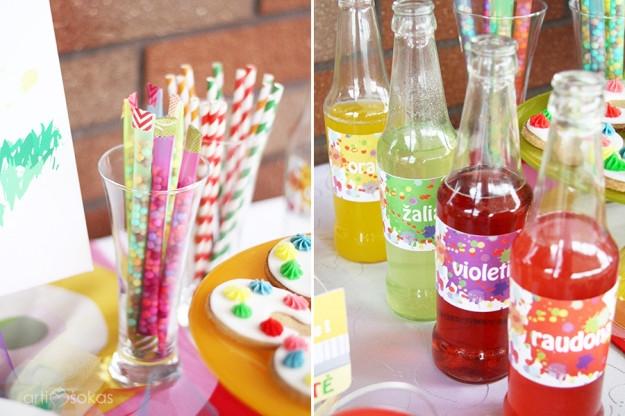 Gimtadienio dekoravimas ir organizavimas - spalvingi buteliukai