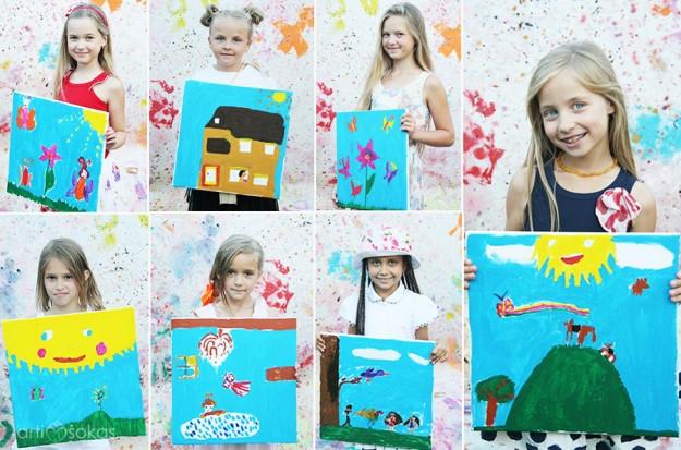 Mergaičių gimtadienis - piešimas ant drobės
