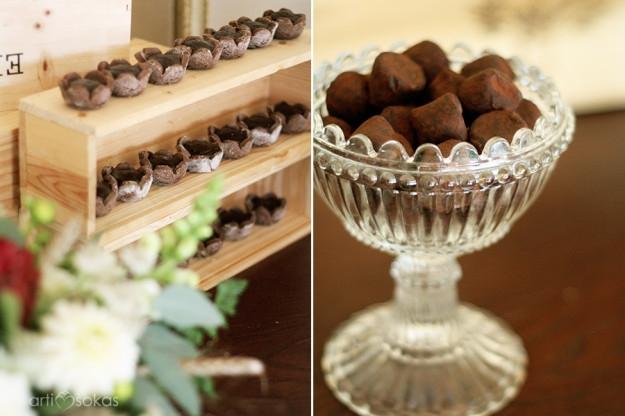 Šokoladiniai triufeliai ir begliutiminės kukurūzų miltų tartaletės