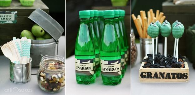 Mineralinio buteliukai su etiketėmis, cake popsai, riešutų ir razinų davinys