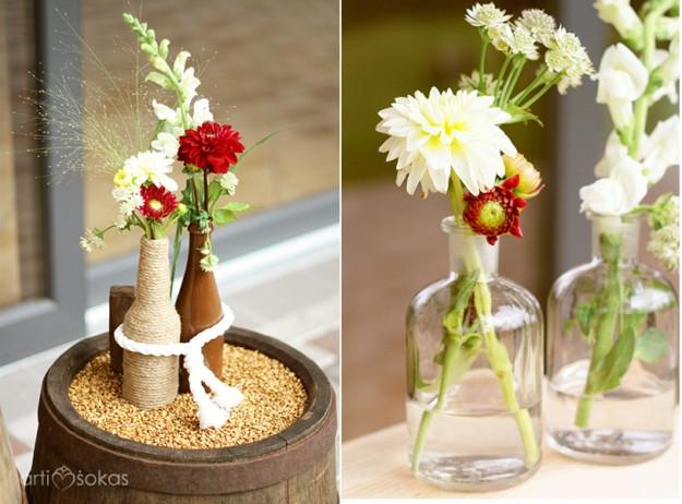 Floristika vestuvėse - paprastos lauko gėlių puokštelės