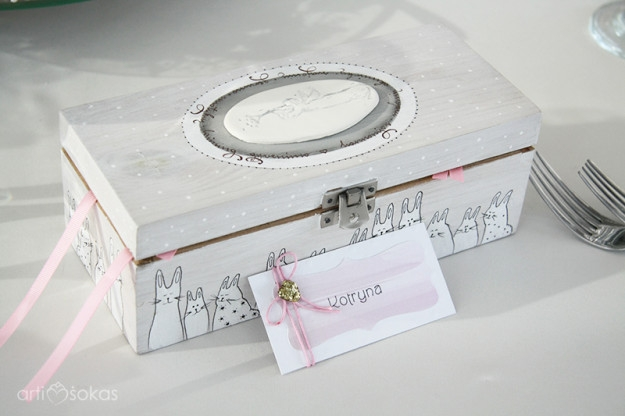 Krikšto palinkėjimai - dėžutė su kiškučiais