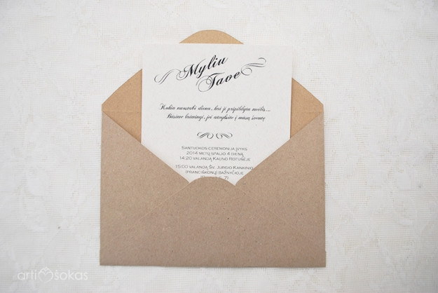 Rudo popieriaus vestuviniai kvietimai