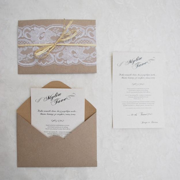 Vestuviniai kvietimai su nėriniais
