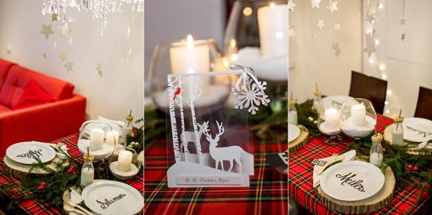 Kalėdinės atvirutės, stalo puošimas