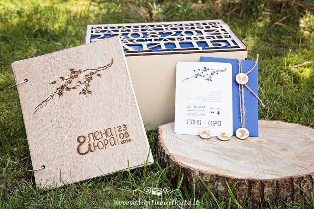 Vestuvių kvietimai, svečių palinkėjimų knyga ir dėžė vokeliams dovanoms