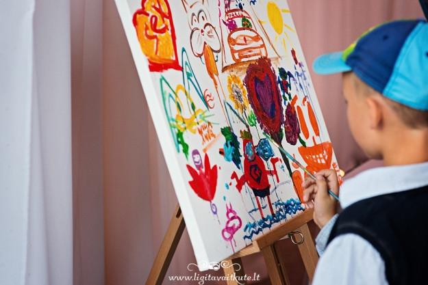 Palinkėjimai jauniesiems - svečių tapytas paveikslas