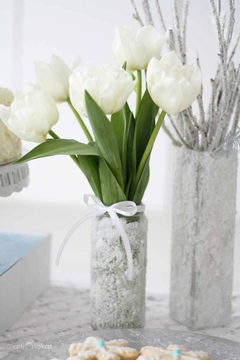 Ledinės vazelės su druskos kristalais