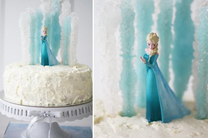 Frozen, Ledo šalies Elza, gimtadienio tortas su cukriniai ledinukai ant pagaliuko