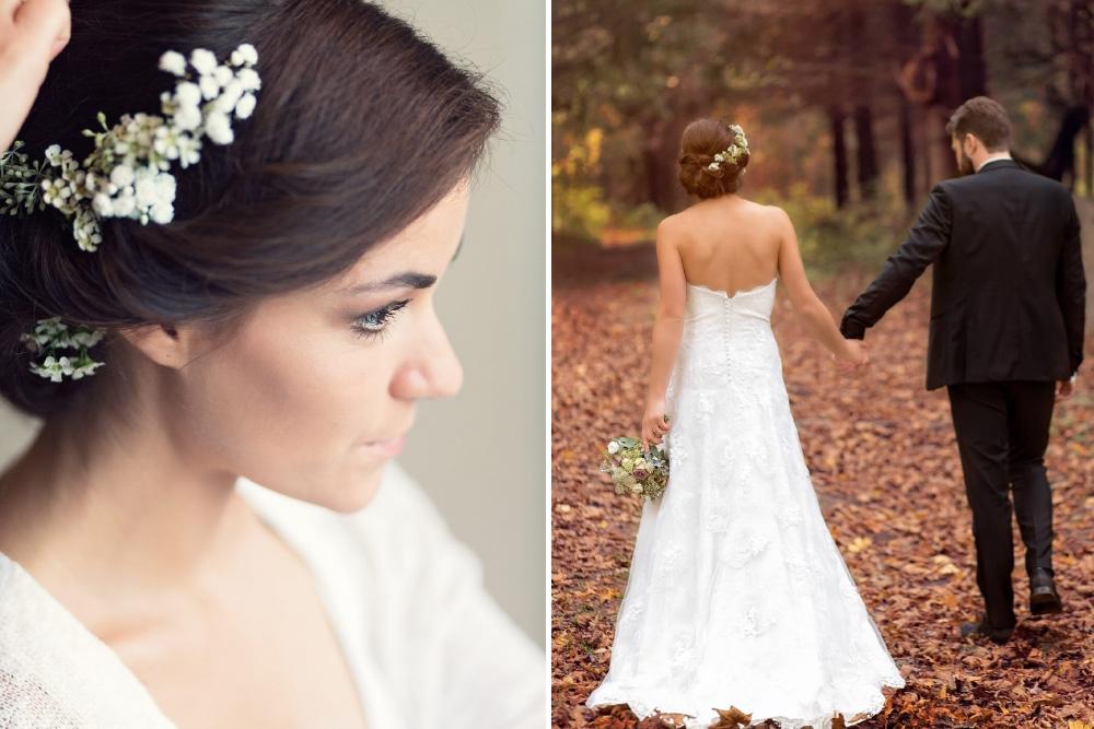 Nuotakos šukuosena - gėlės plaukuose ir vestuvės rudenį